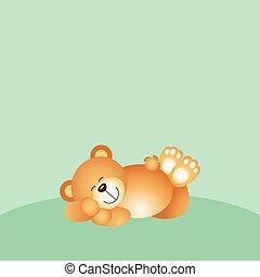 dormir, ours, fond, teddy