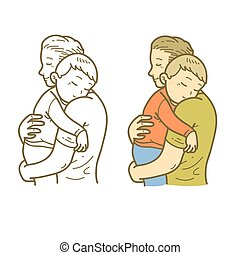 dormir, père, fils, étreinte