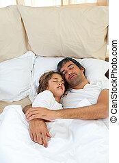 dormir, pai, junto, filho