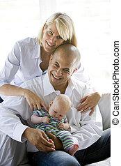 dormir, parents, bébé, recouvrement, dad\'s, aimer