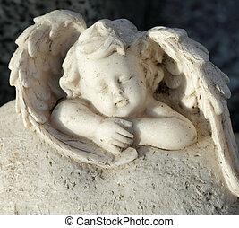 dormir, petit ange, figurine, -, cimetière, pierre tombale,...