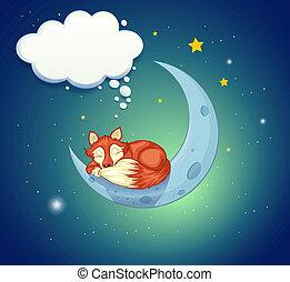 dormir, renard, au-dessus, lune