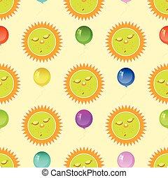dormir, sol, e, a, balloon., seamless, padrão