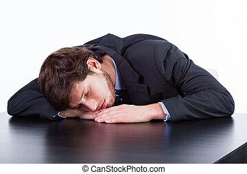 dormir, table, fatigué, homme affaires