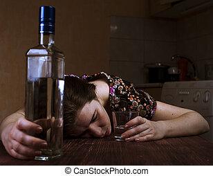 dormir, table, femme, fatigué, ivre