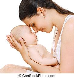 dormir, tendresse, sensuelles, maman, bébé