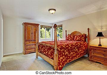dormitorio, con, alto, poste, cama, y, guardarropa