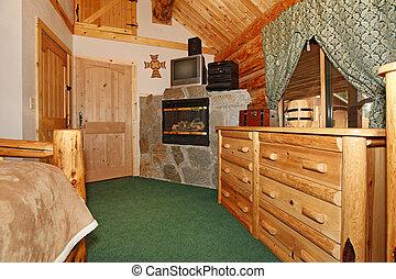dormitorio, con, chimenea, y, madera, puertas