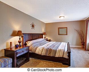 dormitorio, con, elegante, muebles