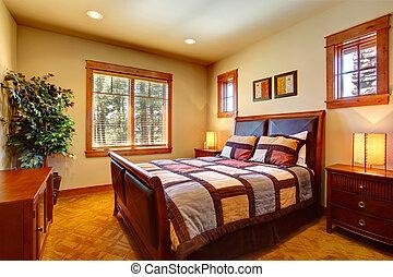dormitorio, con, hermoso, cama
