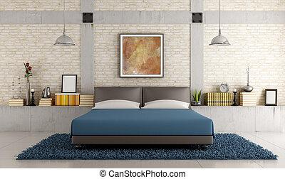 dormitorio, contemporáneo, desván