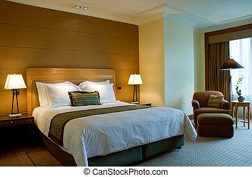 dormitorio, de, un, elegante, 5, estrella, hotel