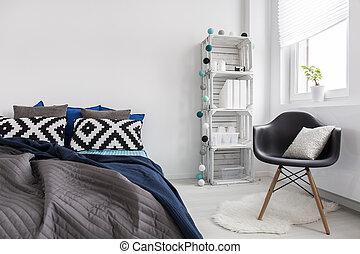 dormitorio, de, un, muy, creativo, persona
