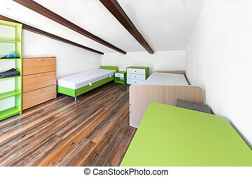 dormitorio, edificio, tiro, ángulo, moderno