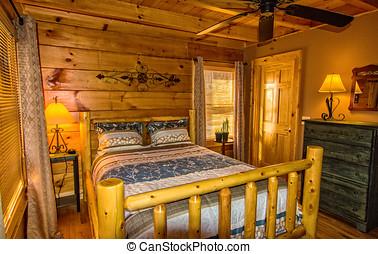 dormitorio, en, cabañade troncos