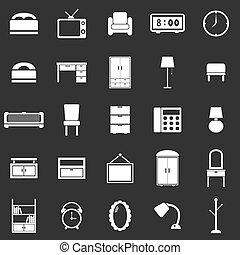 dormitorio, fondo negro, iconos
