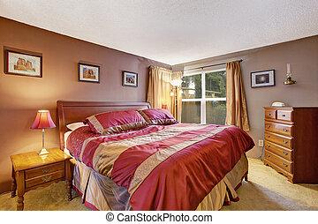 dormitorio, interior, con, hermoso, cama, en, rojo, y, mocha