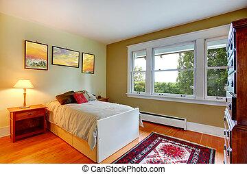 dormitorio, interior, con, solo, cama