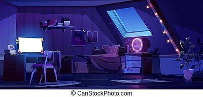dormitorio, interior, noche, ático, niña