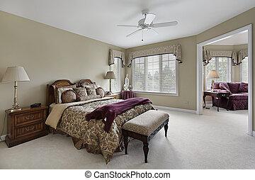 dormitorio, maestro, habitación, adyacente, sentado