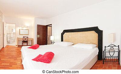 dormitorio, para, dos personas, con, un, toilet., en, decoration.