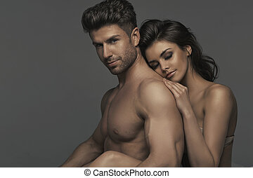 dormitorio, retrato, pareja, sexy