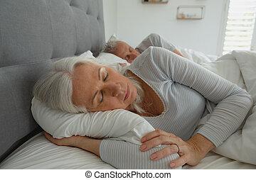 dormitorio, sueño, juntos, 3º edad, activo, pareja, cama