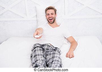 dormitorio, suscribir, tv., pijama, reloj, tipo, shows., ...