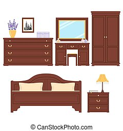 dormitorio, vector, conjunto, muebles