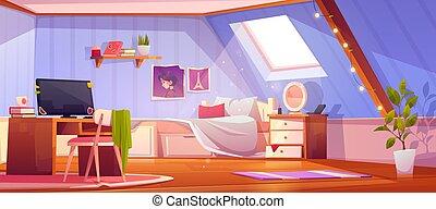 dormitorio, vector, interior, ático, caricatura, niña