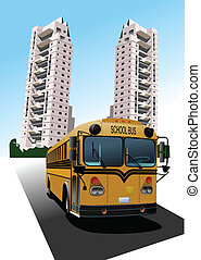 Dormitory and school bus. Vector illustration