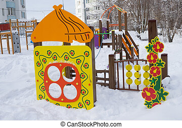 Dormitory area with playround in winter