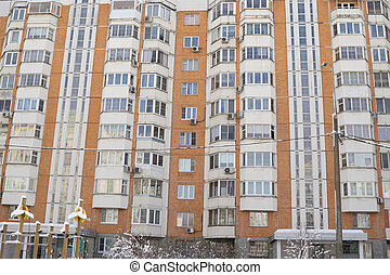 Dormitory area with residential buildings in winter