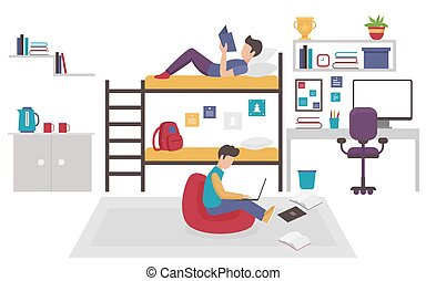 Dormitory room with two teen men brothers sharing bedroom. Friends males study home together flat vector illustration.