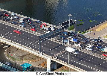 Dorogomilovskiy bridge on third transport ring in Moscow,...