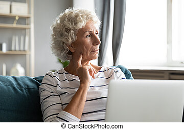 dorosły, brakujący, do góry, starszy, babcia, używając, ...