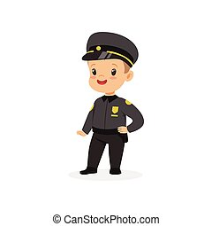 dorosły, chłopiec, policja, pracujący, płaski, istota,...