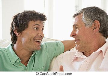 dorosły, mówiąc, ojciec, do góry, syn