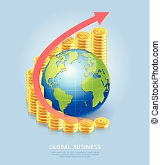 dorosły, pojęcie, handlowy, złoty, globalny, do góry, tło.,...