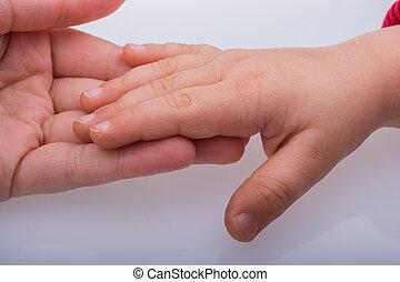 dorosły, ręki do góry, razem, dziecko