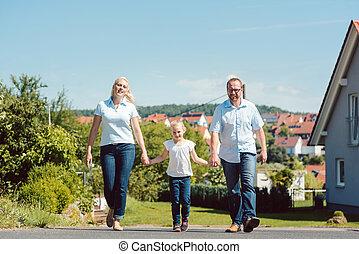 dorp, hebben, gezin, wandeling
