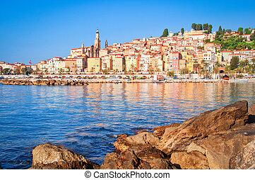 dorp, menton, oceaan, provence, aanzicht