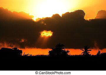 dorp, op, ondergaande zon