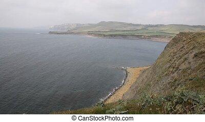 Dorset coast Kimmeridge Bay misty - Kimmeridge Bay east of...