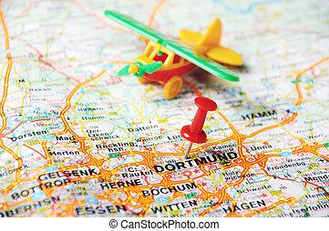 dortmund germany map airplan