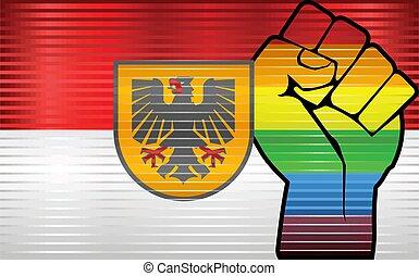 dortmund, lgbt, bandera, protesta, puño, brillante