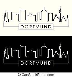 dortmund, style., skyline., lineal