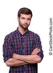 dorywczo, handsome., portret, od, przystojny, młody mężczyzna, w, przypadkowy, koszula, keeping, herb krzyżował, i, aparat fotograficzny przeglądnięcia, znowu, reputacja, odizolowany, na białym