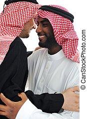 dos, árabe, hombres, teniendo, tibio, reunión