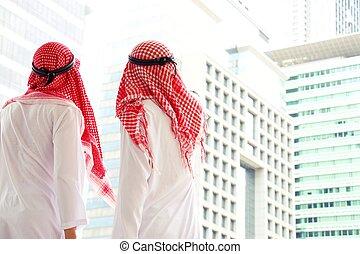 dos, árabe, ser, el mirar, edificio